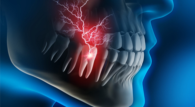 An animated image of a tooth with pain radiating from it