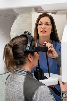 Woman receiving 3D CT cone beam scan