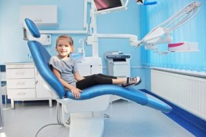 girl in dental chair at children's dentist in Arlington Heights