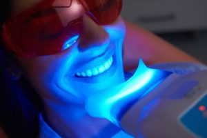 Woman undergoing teeth whitening treatment